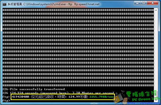 升級光世代網路60M/15M FTP測速